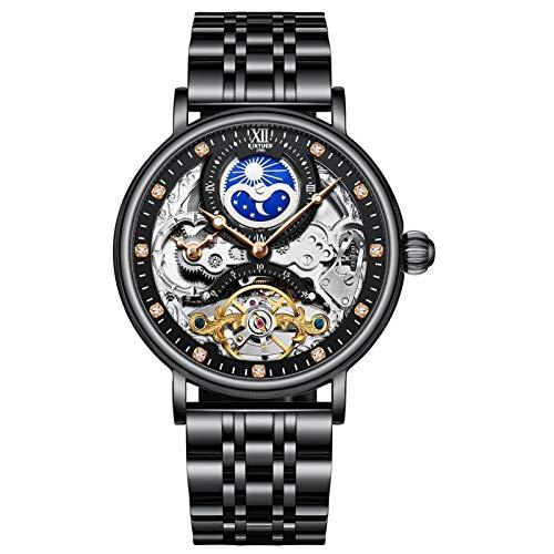 JTTM Relojes Hombre Moda Acero Inoxidable Impermeables Mecánico Automático Reloj Hombre Lujoso Comercio Calendario Militar Deportivo Relojes Tourbillon,Negro