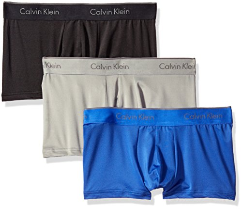 Calvin Klein Men's Microfiber Stretch Multipack Low Rise Trunks, Black/Cobalt Water/Grey Heather, Medium