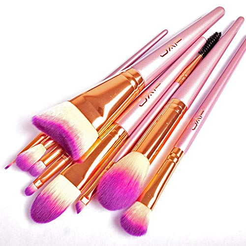 Fluffy brush set, JAF Taklon Makeup Brushes, Curved Contour Brush, Gradient Pink Taklon Face Makeup, Eye Makeup, Lip Brushes, Portable, Synthetic, Professional, Flawless, Cruelty Free Cosmetic Tools