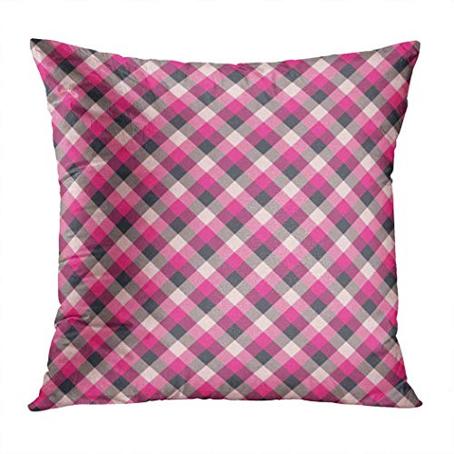 Pamela Hill Throw Pillow Decor Square 20 x 20 Pulgadas Buffalo Plaid Gingham Light Red Retro Classic Nostalgia Art Super Soft Funda de cojín Decorativo