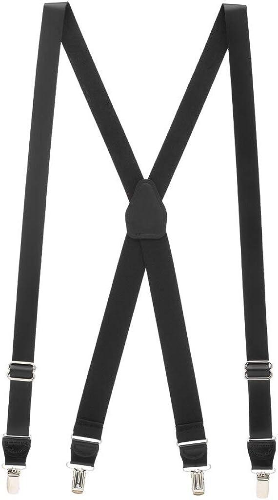 SuspenderStore Men's Leather Suspenders - 1-Inch Wide - Clip