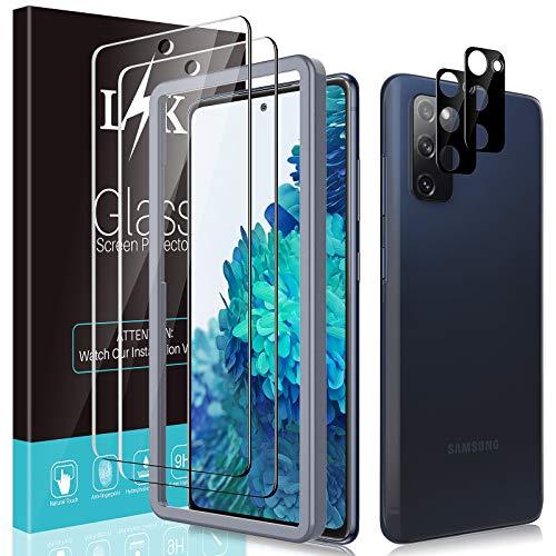 LϟK 4 Pack Protector de Pantalla para Samsung Galaxy S20 FE 4G/5G con 2 Pack Cristal Vidrio Templado y 2 Pack Protector de Lente de Cámara - Dureza 9H Sin Burbujas Kit Fácil de Instalar - Negro