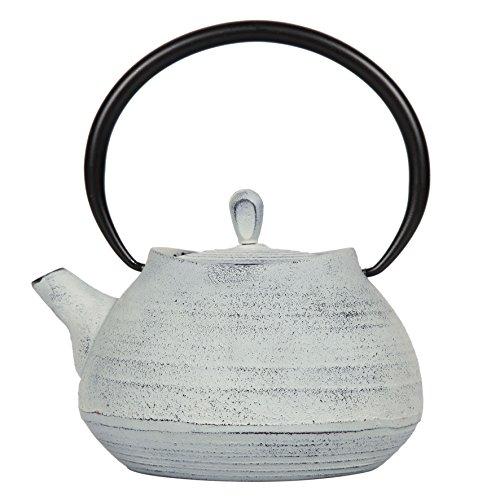 SEMA 97144 Théière Boule Fonte avec Intérieur Emaillé Blanche 1L, Blanc, 17 x 16 x 20,5 cm