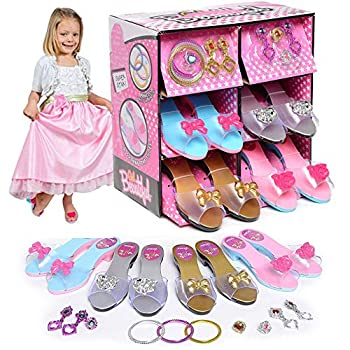 Princess Dress Up and Play Shoe and Jewelry Boutique with 4 Pairs of Shoes Earrings Bracelets Rings - Perfect for Girls