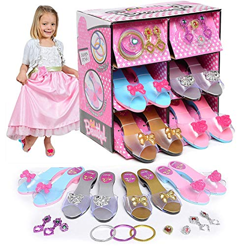 Liberty Imports Princess Dress Up and Play Shoe and Jewelry Boutique with 4 Pairs of Shoes, Earrings, Bracelets, Rings - Perfect for Girls