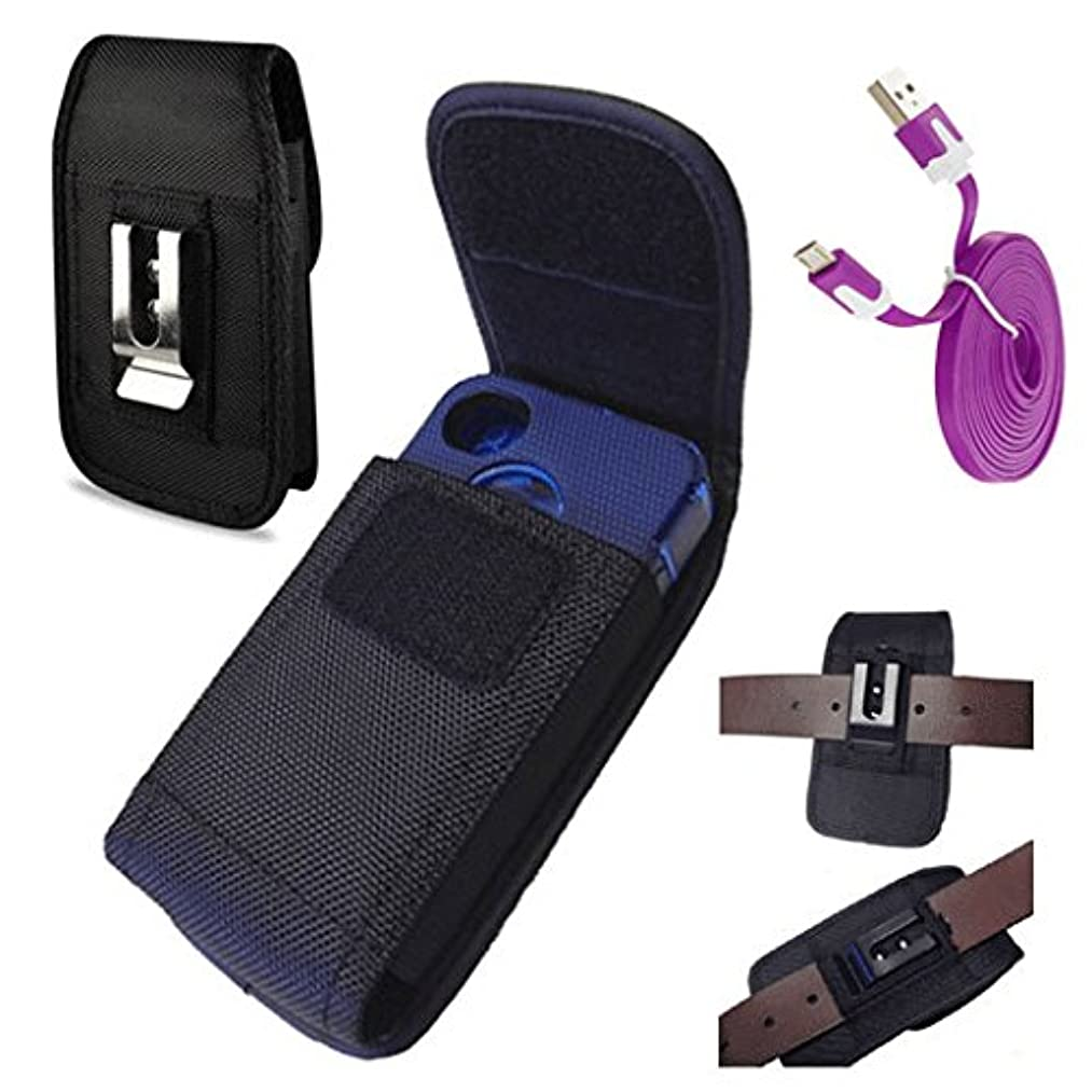 STRONG V NYLON CASE BELT LOOP METAL CLIP HOLSTER Fits SAMSUNG GALAXY S5 with OTTERBOX Commuter / Symmetry cover case on + MICRO USB SYNC CHARGE CABLE