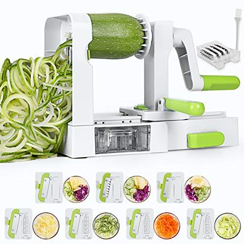 Sedhoom Espiralizador de Vegetales Cortador de Verduras, Doblado Espiralizador de Verduras en Espiral, Juliana,Espaguetis, Tallarines, Cintas o Fideos