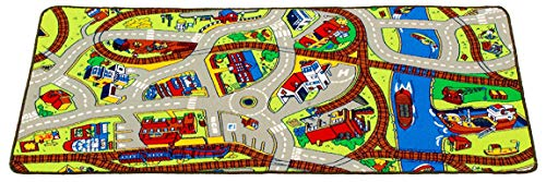 """Learning Carpets Ridethe TrainPlay Carpet, 79"""" by 36"""" –Themed Carpet Develops Imagination –Skid-Proof Gel Backing –Durable -Self-Contained Play Mat for Hours of Fun –Indoor/Outdoor Use"""