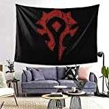 Tapestry - Wow Horde Distressed Logo Personalized Aesthetic Large Tapestry Wall Hanging For Living Room Bedroom 60 × 80inches
