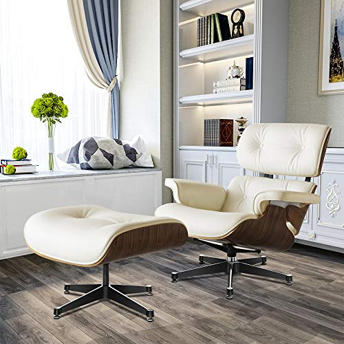 Lounge Chair Living Room Sofa Ottoman Empire High-end Imitation Classical Furniture Leather Lounge Chair And Footstool Swivel Base Modern Living Room Bedroom Reading Comfortable Sofa White + Walnut