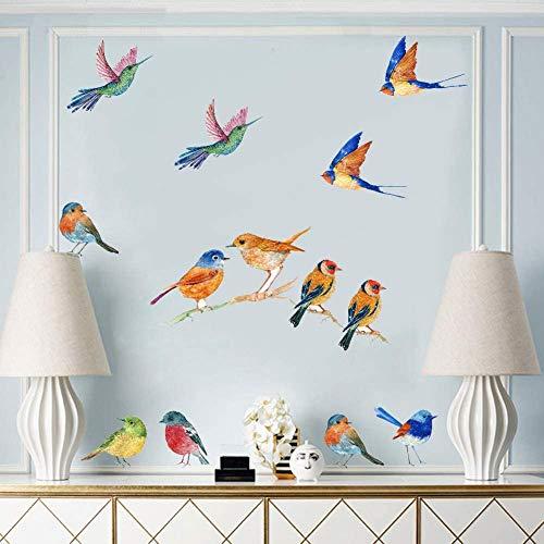 Sticker Mural Oiseaux Aquarelle, Murale Autocollant Créatif Oiseau Volant,Animaux Sticker Muraux pour Chambre D'enfant Bébé Chambre Salon Salle de Cours Mur Art Décor (23 pièces)