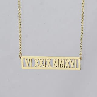 Roman Numerals Horizontal 1 1/4 Inches Cut-Out Bar Necklace Personalized Name Solid 10k Gold