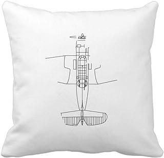 OFFbb-USA - Funda cuadrada para almohada (estructura de líneas de avión)