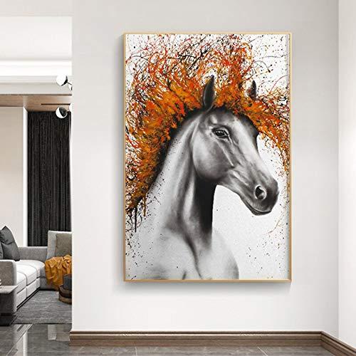 wZUN Caballo Animal Entrada Lienzo Pintura Abstracta Mural Sala de Estar decoración Pintura Carteles e Impresiones 50x70 cm