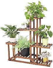 Bloemenplank hout, bloemenstandaard met 5 niveaus, plantentrap met meerdere verdiepingen voor balkon woonkamer buiten tuindecoratie, 96x95x25cm, bruin houten plank