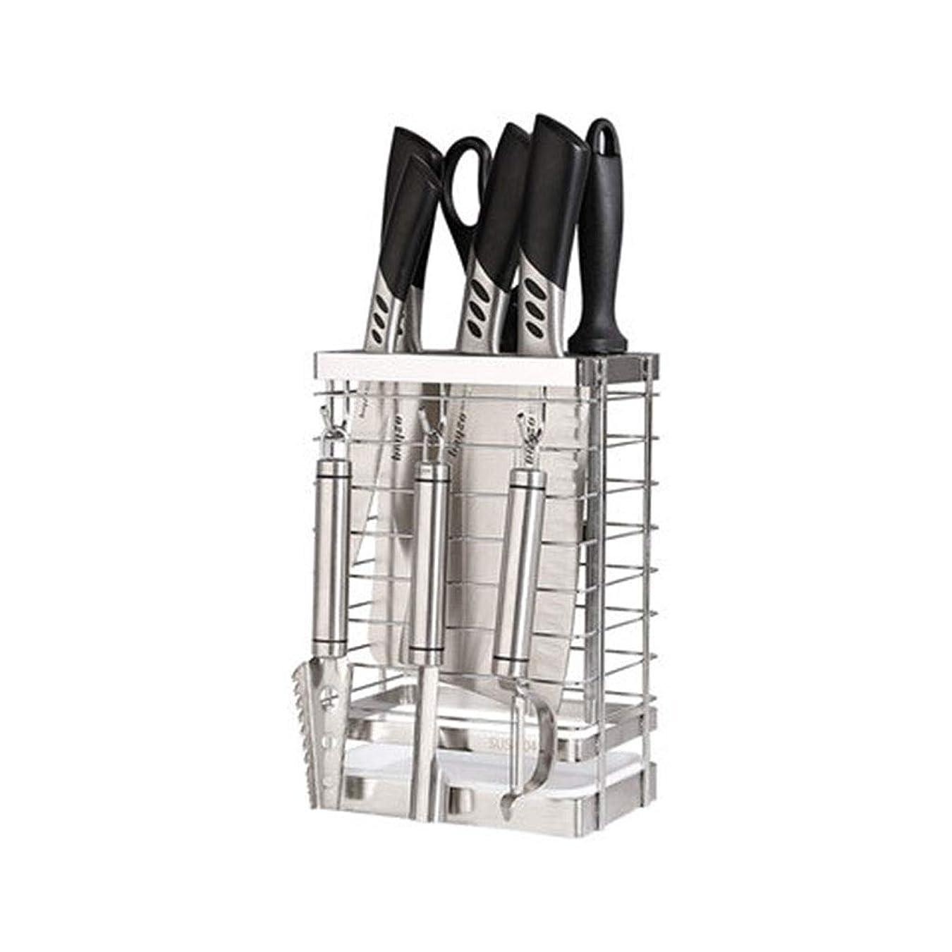 男みなさん黒板ナイフブロック 6つのスロット家庭用工具カウンターストレージステンレス鋼ナイフブロック中空ユニバーサル空ナイフホルダー 0710