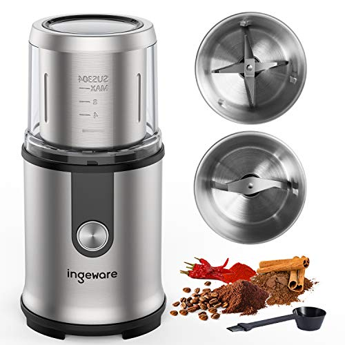 home coffee grinders Ingeware Upgrade Coffee Grinder Electric, 300W Spice Grinder, Coffee Bean Grinder, 2 Removable Stainless Steel Bowls, Multi-Functional Grinder for Spices, Nuts - 12 Cups Capacity, Silver
