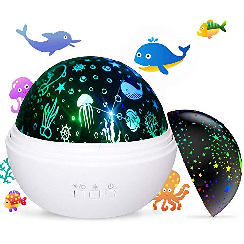 Newest Baby Kids Night Light Projector, Ocean and Stars Night Lights Projector Lamp, Rotating and Colorful Mood Nursery Soother Light for Baby Kids Boys Girls Toddlers Adults in Bedroom(White)