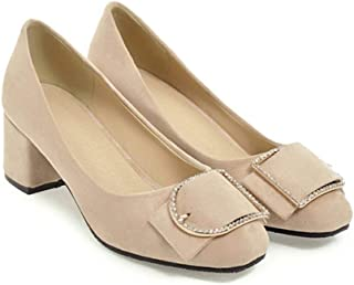 Vrouwen Block Heel High Heels Round Toe Courts Shoes Slip on Office Career Work Shoes Spring Autumn Pumps
