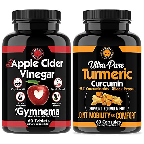 Apple Cider Vinegar Pills for Weightloss and Turmeric Curcumin (2 Pack Bundle) All Natural Weight Loss Detox Remedy Includes Gymnema, Garcinia, Black Pepper for Complete Diet and Health (2-Pack)