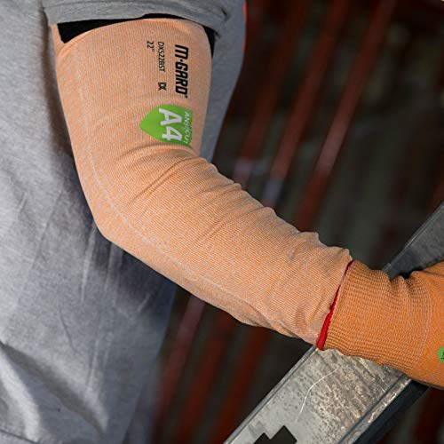 MAGID Cut Resistant Protective Arm Sleeves with Thumb Slot, 1 Pair, Orange I Thumbslot: Yes, 22