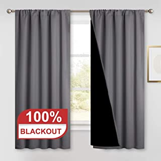 PONY DANCE Noise Reduction Curtains - (W 52 - L 63 in, Grey) Double Layer Blackout Window Curtains with Black Liner Thermal Drapes Total Shading for Night-Shift Better Rest, 2 Panels
