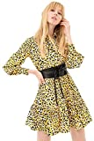 Fracomina Vestido Camisero Animal Print con Cinturón Modelo FR21SD1019W400N4 Color Amarillo (B96 Yellow Black) (l)