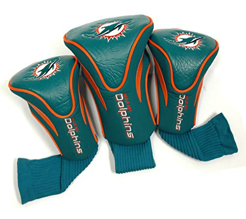 Team Golf NFL Miami Dolphins Contour Golf Club Headcovers (3 Count), Numbered 1, 3, X, Fits Oversized Drivers, Utility, Rescue & Fairway Clubs, Velour Lined for Extra Club Protection