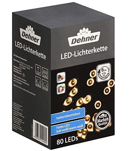 Dehner Lichterkette LED, Länge 790 cm, kaltweiß/warmweiß, wetterfest, Kunststoff, schwarz