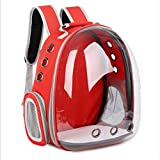 Magik Astronaut Pet Cat Dog Kitten Puppy Carrier Backpack Travel Full-View Breathable Bag Case Capsule for Small Dog and Cats, Transparent Waterproof Hiking Camping, Airline Approved (Red)