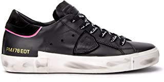 Philippe Model Woman's Sneaker Paris X Model in Black Leather with Fluo Pink Details