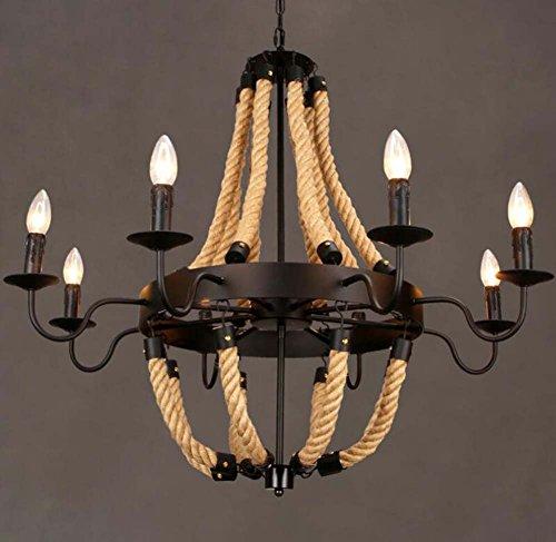 GJX kroonluchter industrieel vintage van henneptouw retro hanglamp hanglamp licht ijzer plafondlamp voor restaurant bar café woonkamer kleding (zonder lampen) - 6/8 lampen