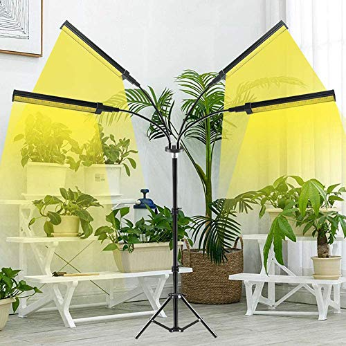 WRQ Grow Lights with Stand, Full Spectrum Four Heads 40W LED Floor Plant Light for Seedling Blooming,Adjustable Gooseneck & Timer Setting 4H/8H/12H,3 Color Modes