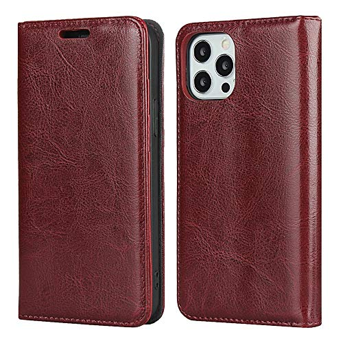Cierre del imán incorporado FOLIO FOLIO CASE [TPU TPU cubierta interna] para iPhone 12/12 Pro 6.1-Inch 2020 Lanzamiento, Agiotage Real Literal Leather Billet Funda, Iphone 12 Pro, Funda para iPhone 12