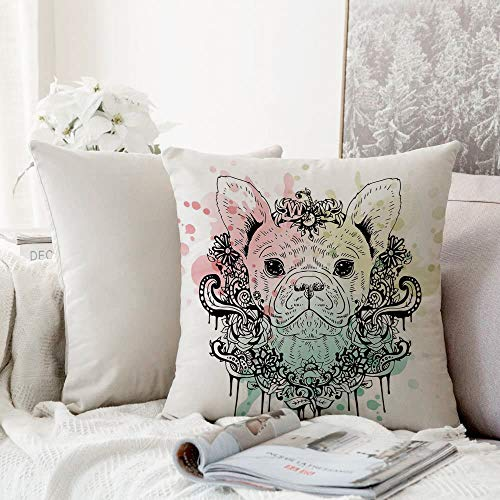 Decorative Pillowcase Throw Pillow Cushion Cover,Animal,French Bulldog with Floral Wreath on Brushstroke Watercolor Print,Mint Light Pink Pale Green,,Throw Pillow Case, Home Sofa Bedroom Decoration