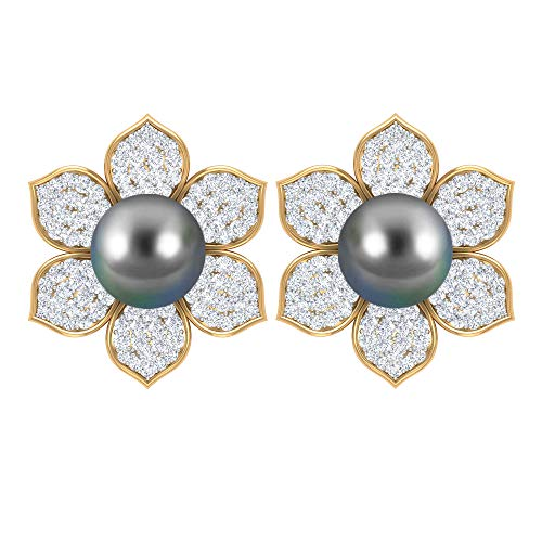 Pendiente único de flor, 6 ct 7 mm de perla de tahitiana, HI-SI 0,88 ct, pendiente de diamante, solitario de perlas tahitianas, pendientes de boda vintage 14K Oro amarillo, Par