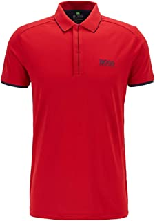Hugo Boss Slim Fit Waffle Pique Golf Polo Bright Red X-Large