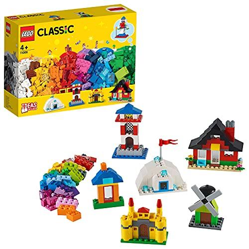 LEGO 11008 Classic Bausteine - Bunte Häuser Bauset, Spielzeug für Kleinkinder ab 4 Jahren, mit 6 einfach zu bauenden Modellen