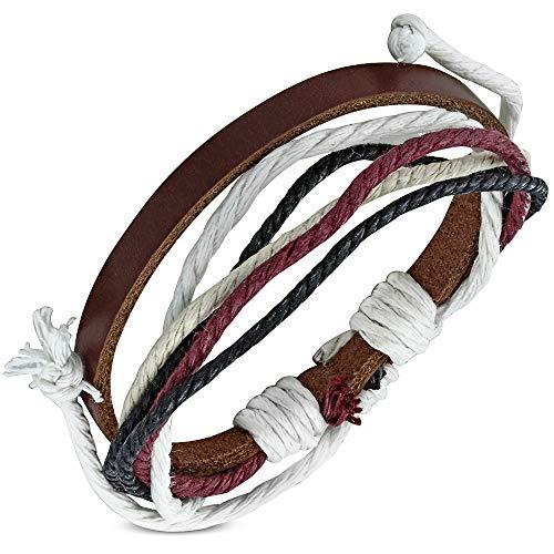 Pulsera de cuerda y piel – Blanco burdeo, beige, negro y marrón – nudo deslizante ajustable