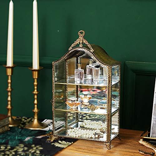 BFAWZ Armadietti da Collezione in Vetro Squisito di Vetro, armadietto per Gioielli a Specchio Laterale in Ottone Vintage Fatto a Mano, Decorazioni d'Arte d'interni