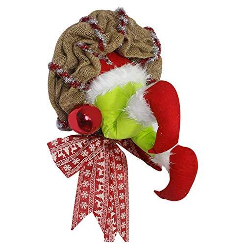 ZBBN Guirnalda de arpillera de ladrn de Navidad con Patas de Felpa Que se Pueden poseer para la accin de Gracias de Navidad Decoracin de Interiores Corona de Navidad Puerta Principal