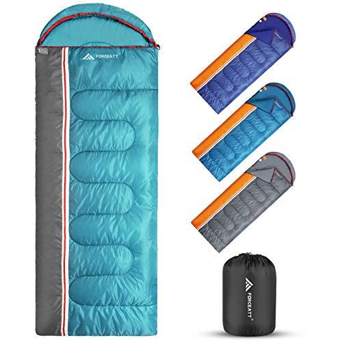 Forceatt Schlafsack hält sich für 3 Jahreszeiten warm, drinnen und draußen, ultraleicht, Schlafsack für Erwachsene und Jugendliche, geeignet für Wanderungen, Camping und Outdoor-Aktivitäten