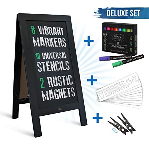 Rustic Black A-Frame Chalkboard Deluxe Set / 8 Chalk Markers + 10 Stencils + 2 Magnets! Outdoor Sidewalk Chalkboard Sign/Large 40
