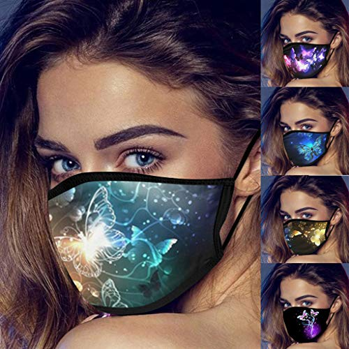 LiLiMeng 5PC Fashion Butterfly Face Màsc for Women, Reusable Seamless Washable Breathable Anti-Dust Face Coverings Face ṁɑѕḱ (B)