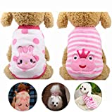YIKEYO Dog Clothes for Small Dogs Girl Pack of 2 XXS XS ~ XXL Puppy Sweaters for Chihuahua Yorkies Winter Warm Cute Pet Clothing for Doggy Cat (Rabbit+Frog, X-Small)