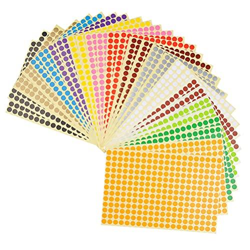 WOWOSS 28 Blättern runde Farbetiketten, Ø 8mm Bunte Markierungspunkte, 14 Farbe, Kennzeichnungsetiketten, 7280 Punkte Klebepunkte, Farbkodierung Etiketten Set