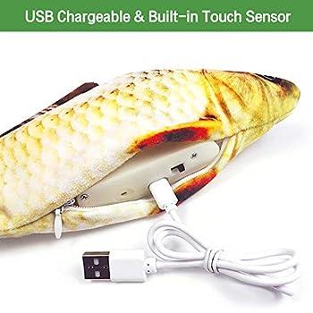 Afaneep Jouet pour Chat, 30m Jouets Poisson Rechargeable USB Peluche Douce Wagging Electrique Poisson Jouet Chat Interactif Automatique Réaliste