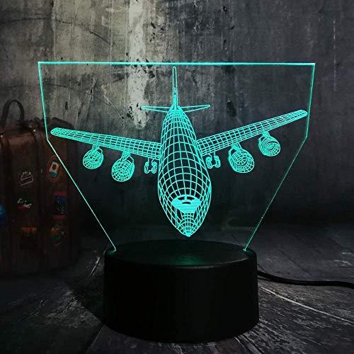 Incroyable Contrôle 7 Couleurs Changer 3D Led Lumière Night Light Avion Lampe de Bureau Famille Famille Garçon Anniversaire Cadeau De Noël Lave avec Télécommande Enfant Cadeau