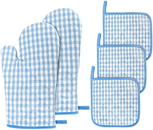 Jennice House Kitchen Oven Mitt and Pot Holders 5 pcs Heat Resistant Vintage Cotton Gingham product image