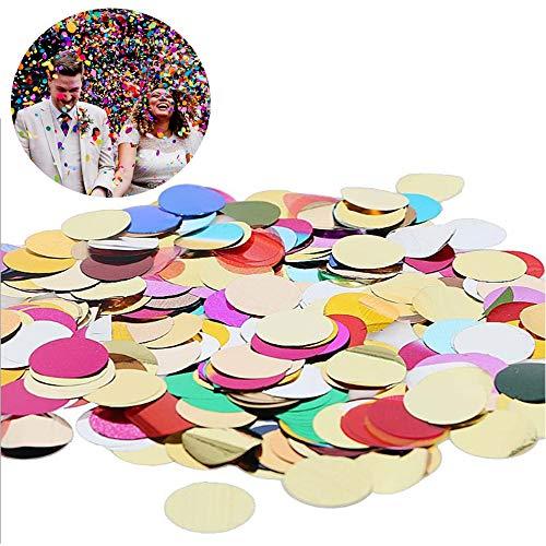 200 g 1.5 cm / 0.6 Pulgadas Confeti de Papel de Seda Redondo Multicolor, Confeti de Papel Multicolor, Fiestas de Cumpleaños y Decoración de Globos (Colores Mezclados)